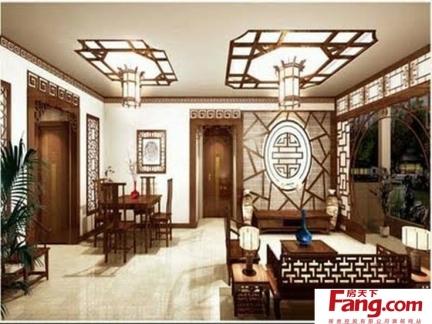 客厅中式壁纸贴图图片