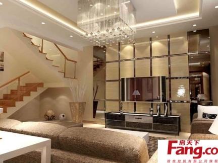 三室一厅两卫现代农村复式楼时尚吊顶客厅装修效果图图片