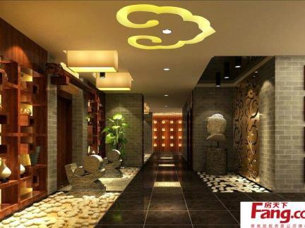 中式茶馆装修图片之走廊