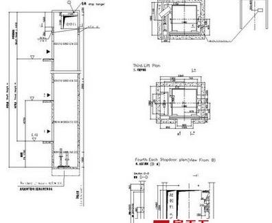 电梯分解设计布局平面图纸图