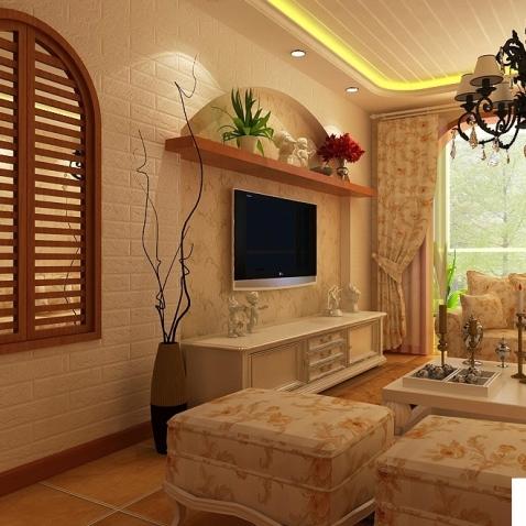 美式田园客厅电视背景墙效果图图片