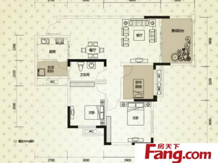 三室两厅一卫平面户型设计图-2017三室两厅一书房平面图 房天下装修图片