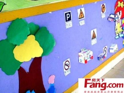 简约清新幼儿园走廊布置图片