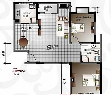 2017二室一厅户型平面图 房天下装修效果图