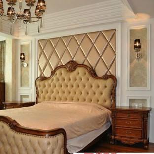 中式古典风格主卧床头背景效果图图片