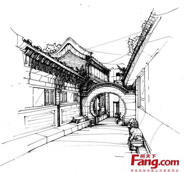 别墅江南风大门手绘设计图-搜房网装修效果图
