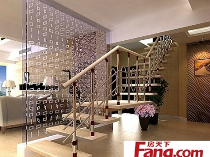 复式楼玻璃楼梯扶手装修效果图图片
