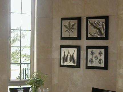 瓷砖挂画搭配的餐厅背景墙装修效果图