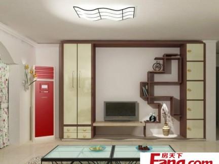 中式博古架电视背景墙90平二室二厅装修图
