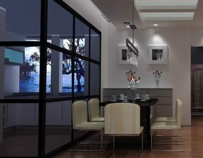 厨房与雕花镂空玻璃隔断效果图图片