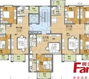 三室两厅一卫布局平面设计户型图