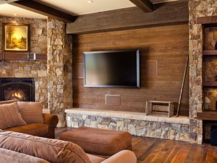 仿木色瓷砖电视背景墙图片-2018电视背景墙木饰面装修效果图 房天下