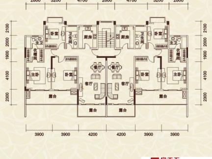 农村双拼别墅三层平面设计图
