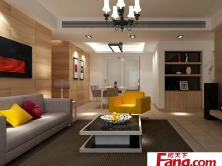 现代简约客厅90平二室二厅装修图