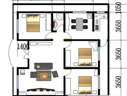 农村一层平房设计图纸-1层农村平房设计图