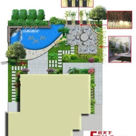 别墅美式庭院效果设计图图片
