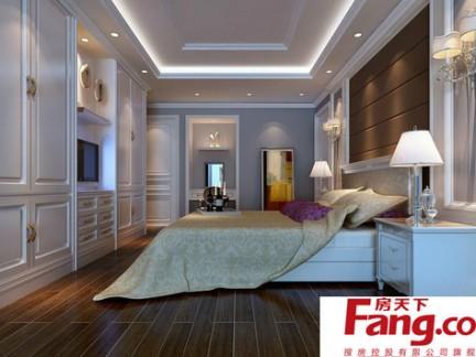白色简欧长方形卧室装修效果图图片