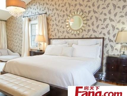 欧式淡雅花纹床头背景墙效果图