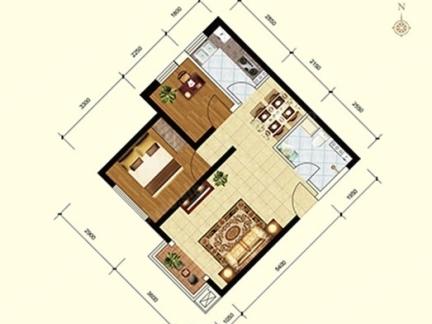 大户型两室一厅平面图