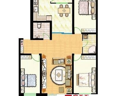 100平米三室一厅户型图大全-100平米三室一厅装修效果图