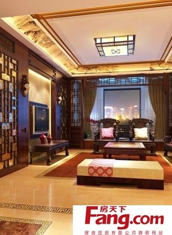 新中式客厅简约风格吊顶装修效果图图片