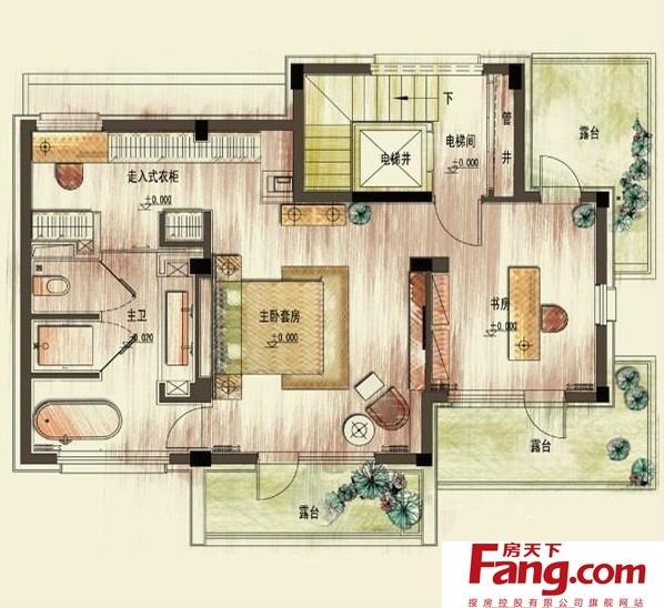 2013年四层别墅二层平面设计图