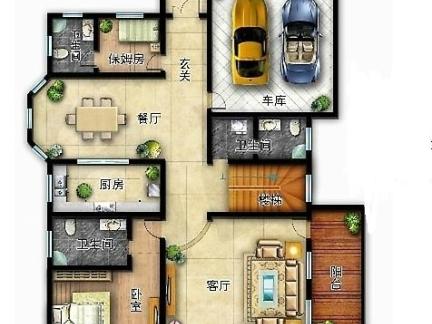 一层独栋别墅平面设计图