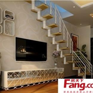 客厅复式楼旋转木制楼梯装修效果图图片