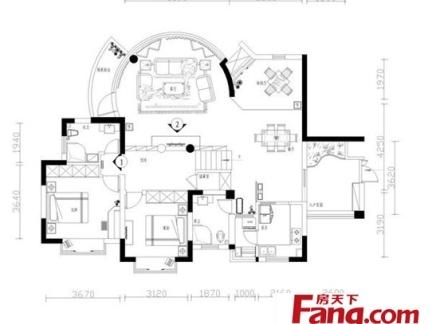独栋别墅一层平面设计布置图