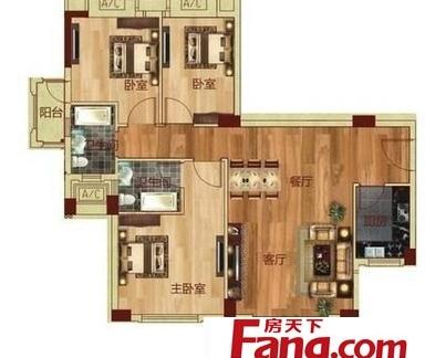 三室两厅一卫设计平面户型图纸图片