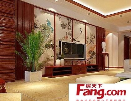 古典装饰画中式电视背景墙效果图