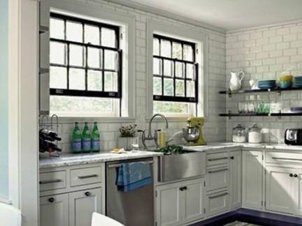 厨房现代简约墙砖效果图-2017现代厨房墙砖贴图 房天下装修效果图
