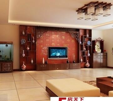 简单设计风格的中式电视背景墙效果图