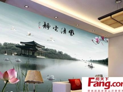 背景墙美如画中式壁纸贴图