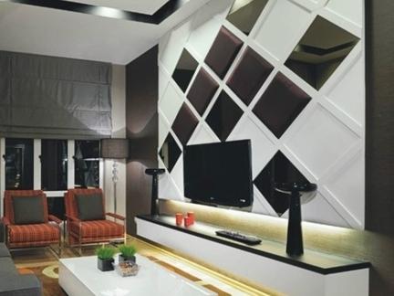 欧式现代菱形电视机背景墙效果图