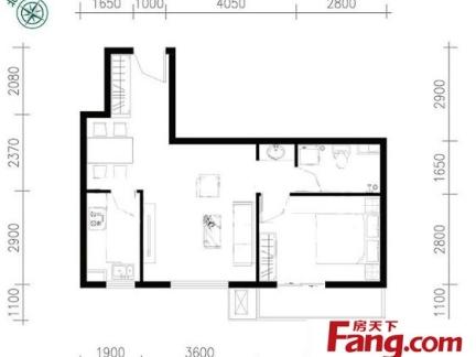 两室一厅装修效果图2019 房天下家居装修网