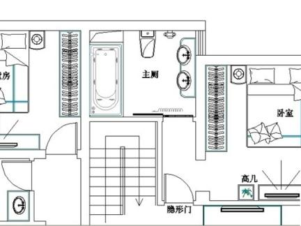 复式楼一楼两室两厅平面图图片
