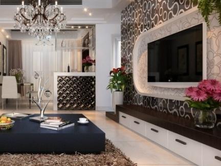黑白花纹瓷砖电视背景墙效果图