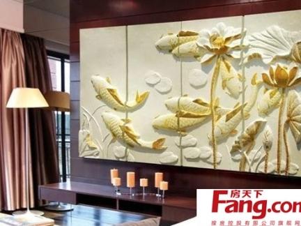 简单风格设计的中式电视背景墙效果图