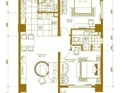 二室一厅户型图-2018二室一厅房子装修图 房天下装修效果图