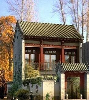 复古中国风中式别墅外观效果图图片