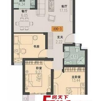 2018二室一厅户型平面图 房天下装修效果图