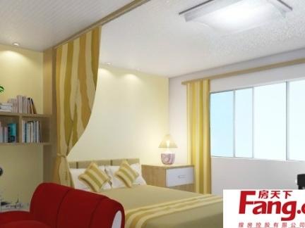 地中海卧室客厅一体装修图
