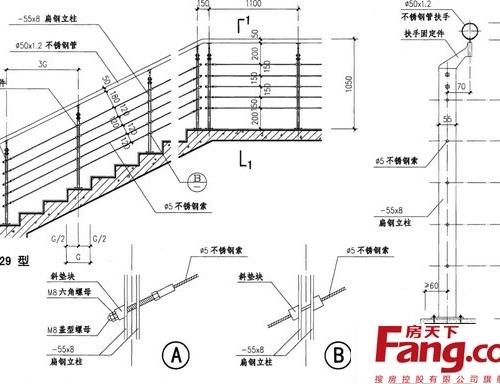 楼梯扶手施工图9套 cad图纸