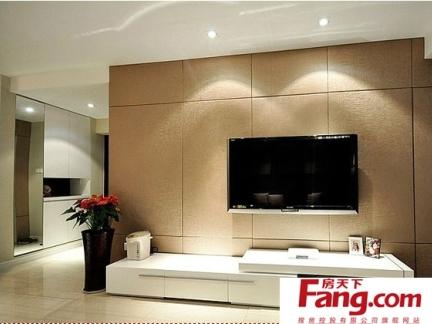实木电视背景墙的小平米客厅装修图