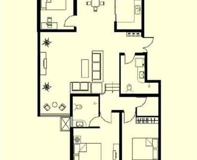 独栋别墅条形平面设计布置图