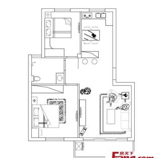 小户型两室一厅平面图