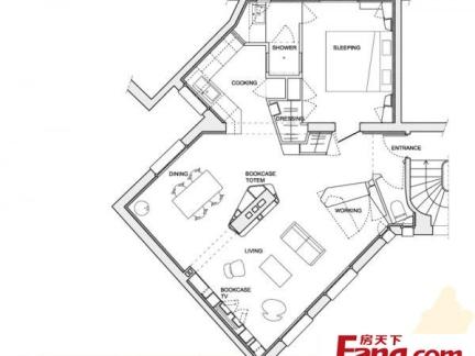 2013年最新单身公寓平面图一览
