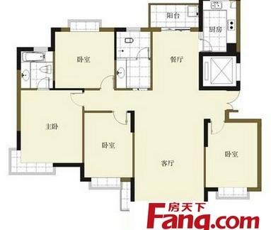 三室两厅一卫布局平面设计户型图纸-2018二室一厅户型平面图 房天下