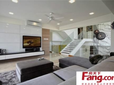 2017复式楼梯电视墙装修效果图 房天下装修效果图